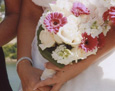 The bridal bouquet consisted of pink mini gerbera, ivory roses, and white stock. Her attendants carried full-sized pink gerbera, and her maid-of-honor added white stock.