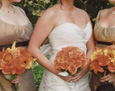 Her attendants carried a mixed bouquet of Asiatic lilies, gerbera, and roses to match the theme color of the wedding. The flower girl carries a nosegay of peach spray roses.