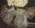 The aisle chairs are decorated with a single hydrangea, salal leaves, and a sheer ivory bow.