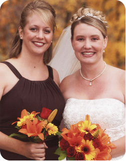 Bride and Maid of Honor with Bouquet